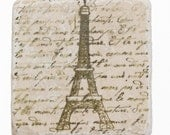 French Script Eiffel Tower Tile Coasters