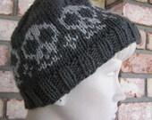 Medium Gray Knitted Beanie Skull Cap