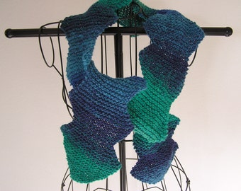 Blue and Teal Green Diagonal Scarf
