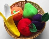 Rainbow of Fruit - Felt Play Food - Set of 5 - Banana Apple Orange Pear Plum
