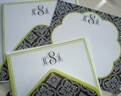 Quatrefoil Black and White with Lime Green Trim Five for Five