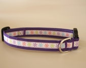 Purple Pastel Flowers Cotton Dog Collar - Medium R