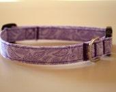 Purple Paisley Cotton Dog Collar - Medium