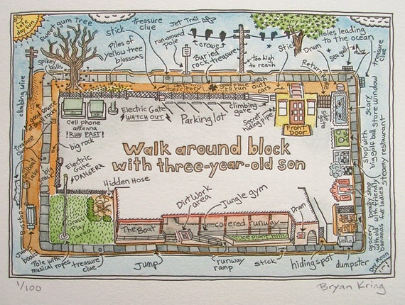 Walk Around the Block, Limited Edition Watercolored Map