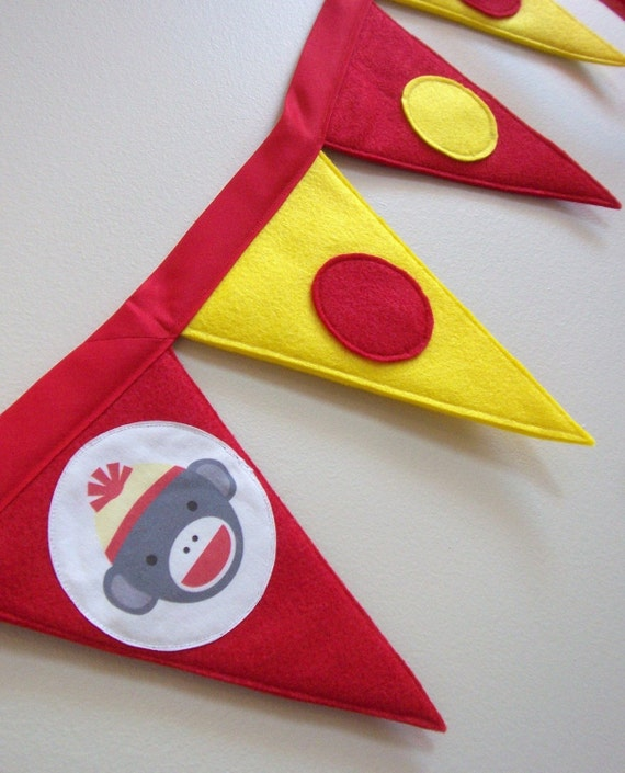 Sock Monkey Birthday Party Banner - IN STOCK ready to ship - High Chair Banner - Eco-friendly felt