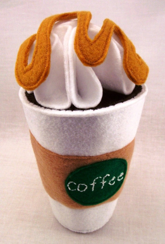 Felt Coffee House/ Hot Chocolate Play Set - Customizable Coffee Cup, Whip Cream, Sugar, Creamer, Marshmallows, Spoon, Caramel and Chocolate Sauce  - Eco Friendly Felt - Stuffed with Sustainable Bamboo Fiber