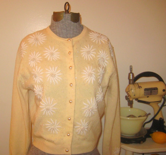 The Sweater Girl 1950s 1960s beaded cardigan sweater made in Hong Kong.