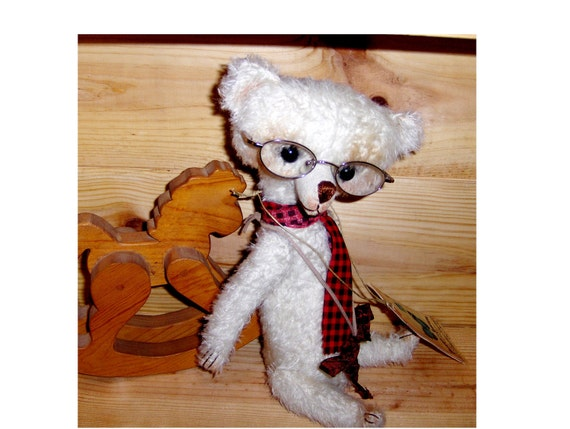 primitive Teddy 13 inch Wally the second, German mohair, glass eyes, jointed, hand sewn, Sale