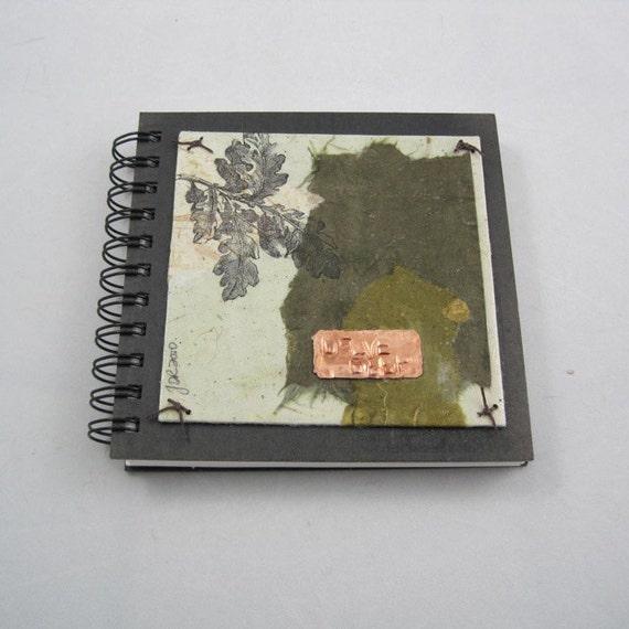 SALE Delve Deep. Oak leaf Mixed media collage on spiral bound blank journal sketchbook