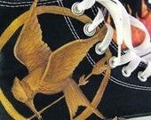 Custom Hand-Painted Hunger Games Converse All Star Hi-Tops