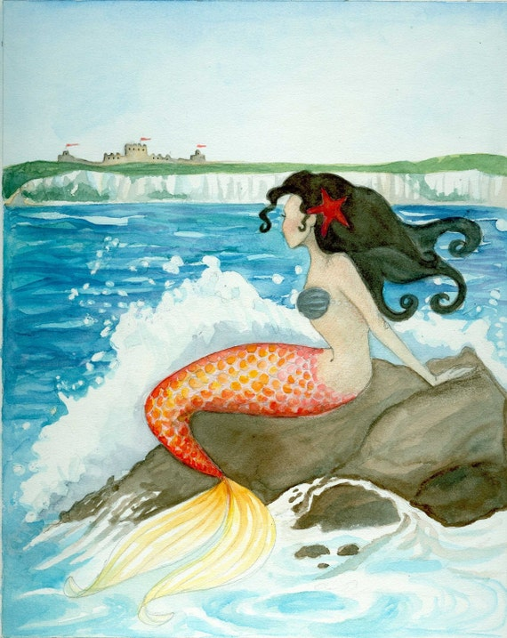 RESERVED FOR mdbug The Little Mermaid 17x20 giclee original art print