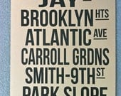 Brooklyn New York Bus Scroll Screen Printed Poster-on Kraft Paper Roll Sign Destination Scroll NYC