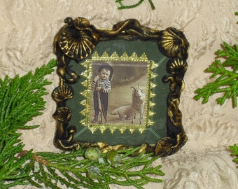 VICTORIAN BOY WITH TOY GOAT - MINIATURE FRAMED PRINT  ORNAMENT - FREE HOLIDAY SHIPPING