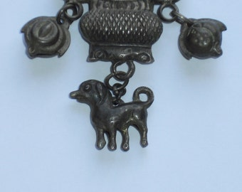 Antique Chinese Silver Necklace With Dog
