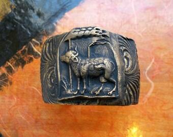 Divine Bovine 2 - Polymer Clay Cow Design on Brass Cuff