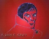 ACEO Barnabas vampire portrait digital art limited edition print gothic goth nitelvr