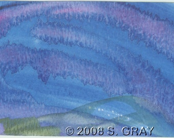ACEO SFA Undersea Fantasy original watercolor painting ocean waves blue abstract art nitelvr