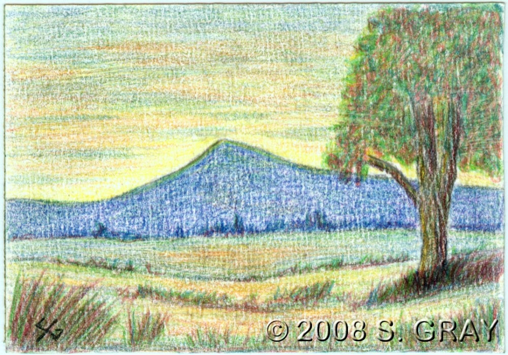 Items similar to ACEO Mountain Sunset original colored ...