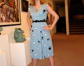 RESERVED Robin's egg blue Atomic Dress 40s -50s Vintage Hand-sewn