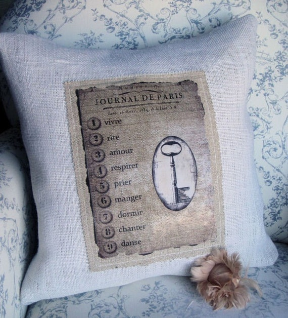 French Keys to Life Burlap Pillow Cover