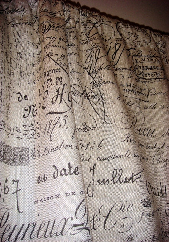 French Script Panel Curtain