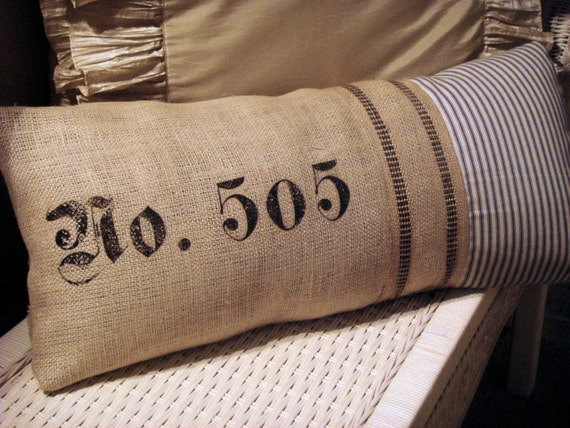 French No 505 Burlap And Ticking Pillow Cover