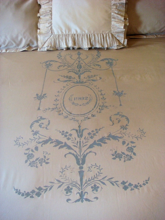 King Duvet Cover and Shams with French Ornate Design