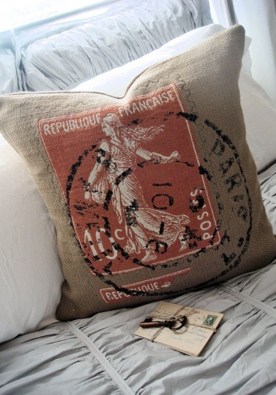 French Postage Stamp Woven Grain Sack and Burlap Pillow Slip