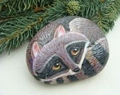 Paper Weight  Raccoon Painted Rock  (FREE SHIPPING)