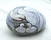Beautiful Swans Original Art  painted on a beach stone