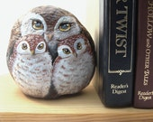 Owl Book End ,Painted Rock , baby owls by Carriveau