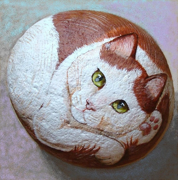 Extra Large Hand Painted Cat Rock Original By