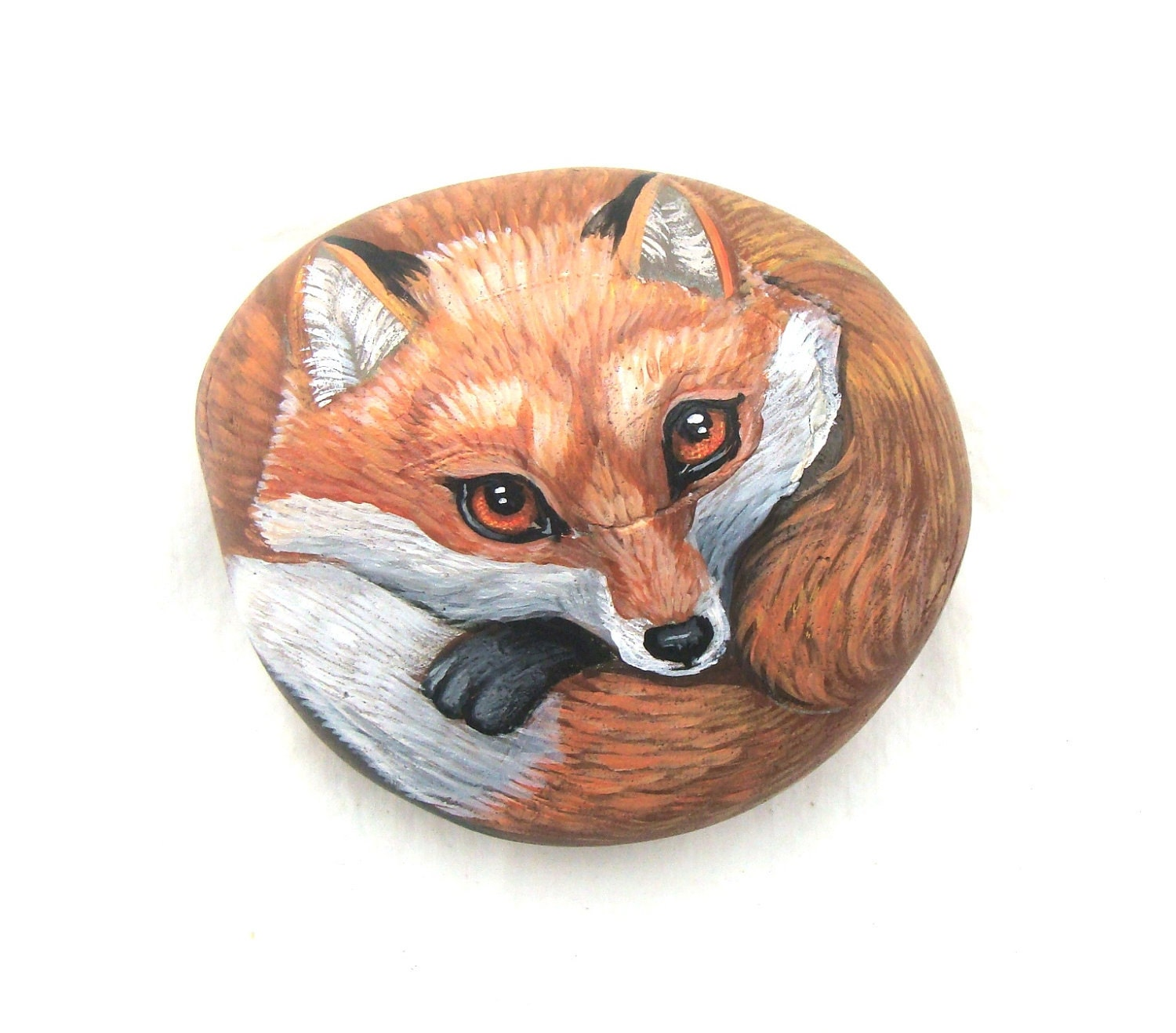 Red Fox Painted Rock