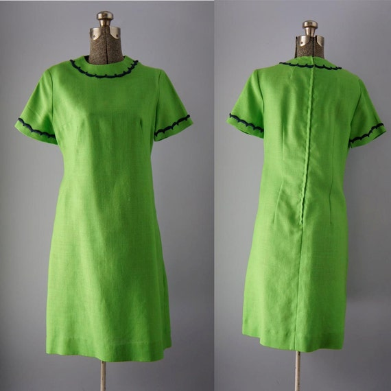 vintage dress 1960s green linen shift by sunnywoodvintage