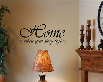 Vinyl wall quotes decals #0342 Home is where your story begins