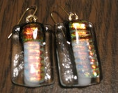Fire and Ice  Fused Black, White and Golden Fire-y Clear Dichroic Glass Earrings - OOAK - sra - cgge