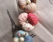 3 Petal Printed Fabric Flower Brooch