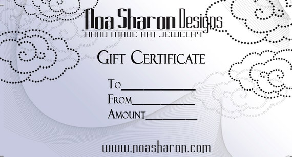 Noa Sharon Designs Gift Certificate - The Perfect Gift - 150