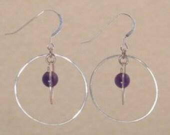 Silver Orbit Earrings with Amethyst