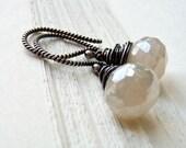 RESERVED for scooch95 Pearl Chalcedony Earrings, Mystic Pearl Chalcedony Gemstone Earrings,Twisted Ear Wire, Oxidized Sterling Silver