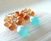 RESERVED for mariemericson - Fiesta Earrings - Handmade Bright Orange Quartz and Aqua Chalcedony Earrings in 14k Gold Filled