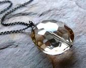 CIJ SALE - Light Smoky Quartz Sparkling Pendant - Handmade Smoky Quartz Nugget Necklace