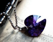 Purple Heart Necklace, Swarovski Crystal Necklace, Oxidized Sterling Silver Chain Necklace