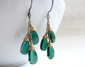 SALE 20% Off - Handmade Forest Green Quartz Trio Earrings Wrapped in 14k Gold Filled to Oxidized Sterling Silver - Was 38.00