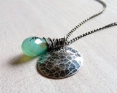 Peruvian Opal Necklace, Faceted Teardrop Gemstone Necklace,  Hammered Disc Necklace, Oxidized Sterling Silver Charm Necklace