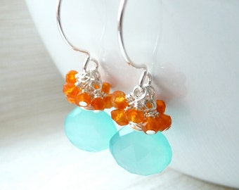 Blue Chalcedony Earrings, Carnelian Cluster Earrings, Sterling Silver Earrings, Summer Jewelry, On Sale