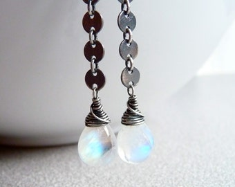 Rainbow Moonstone Earrings, Sterling Silver Dangle Chain Earrings, Oxidized Sterling