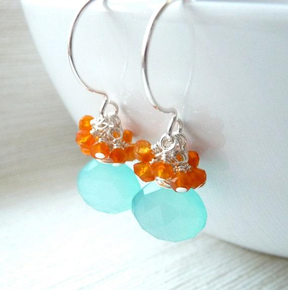 Blue Chalcedony Earrings, Carnelian Cluster Earrings, Sterling Silver Earrings, Summer Jewelry, On Sale