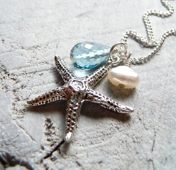Starfish Necklace, Blue Topaz Necklace, White Pearl, Sterling Silver Charm Necklace