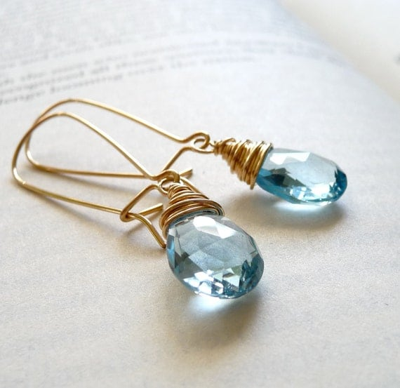 On SALE 15% OFF - Blue Topaz Gemstone Earrings Wire Wrapped in 14k Gold Filled - Handmade - Ready to Ship